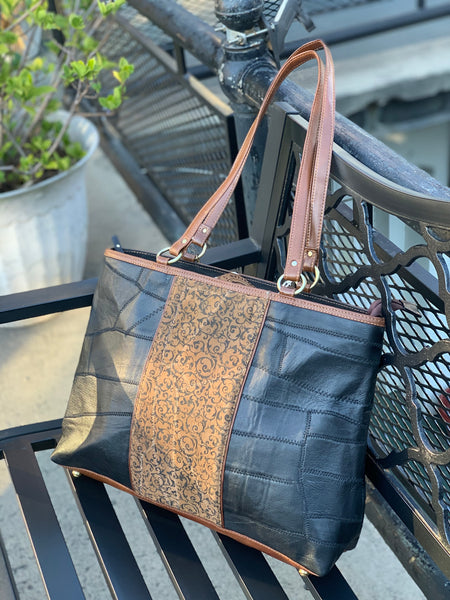 Upcycled Leather Tote, Two-Tone