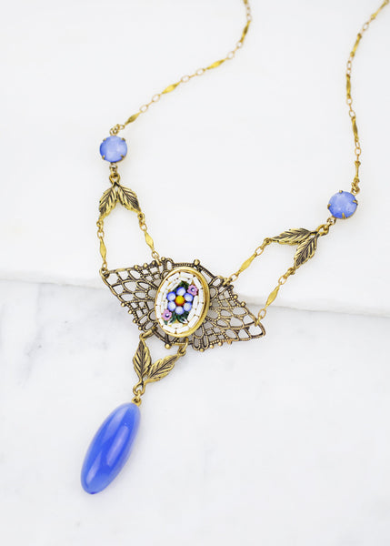 Vintage Blue Mosaic Necklace