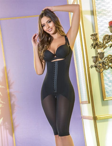 short to the knee shapewear with central hooks black high compression