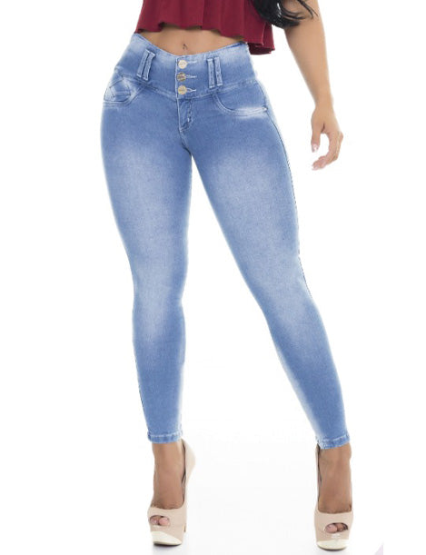high waist butt lift three button skinny colombian jeans