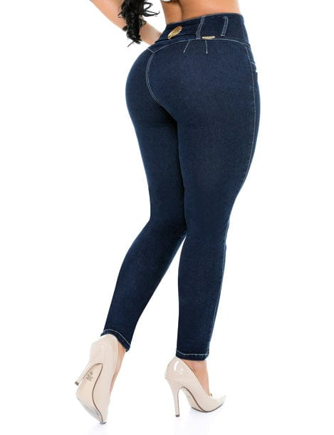 back view of butt lift jeans with no pockets and nude high heels