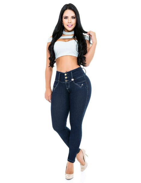 butt lift levanta cola jeans with white lining dark wash white crop top