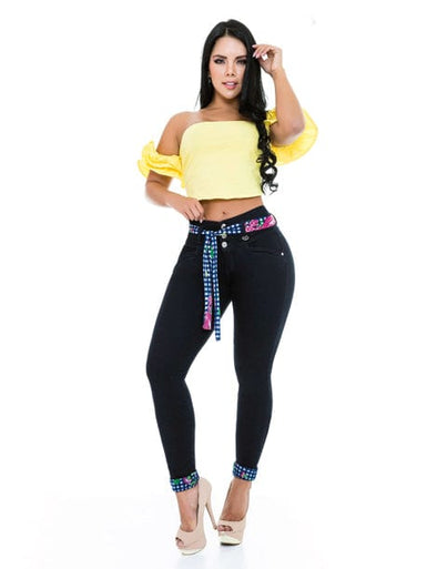colorful outfit butt lift jeans with colorful blue tie belt and yellow crop top