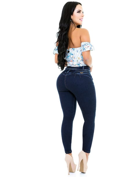 Back view of butt lift colmbian jeans with heart shape stitching