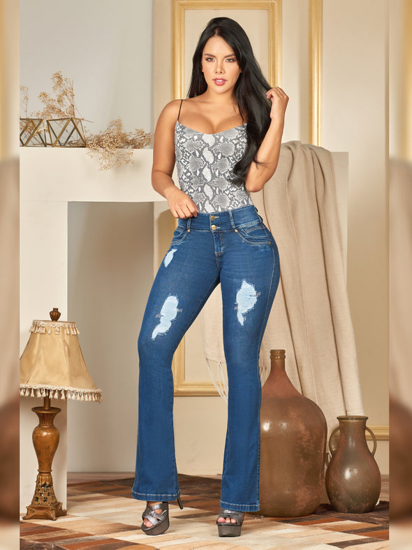 colombian butt lift jeans boot cut medium blue ripped with snake bodysuit