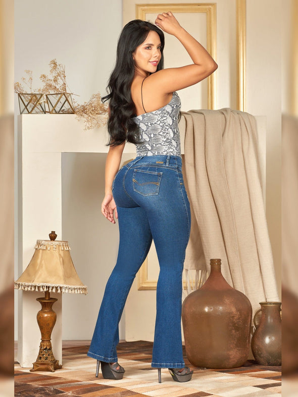 back view butt lift colombian jeans boot cut