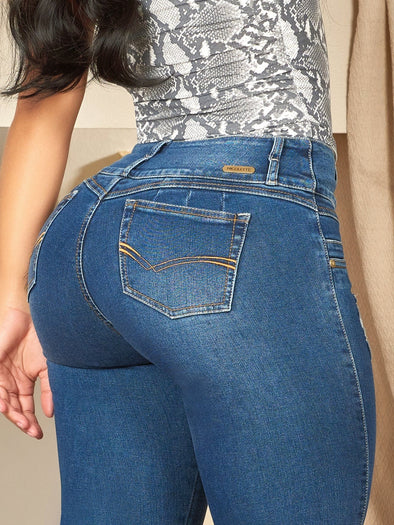 medium wash butt lift colombian jeans skinny fit wide set pockets colombian high waist