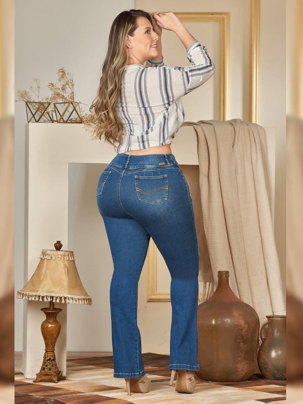 back view plus size colombian jeans with boot cut striped blouse