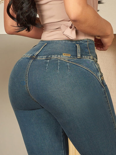 dark wash nicolette butt lift jeans no pockets no pockets