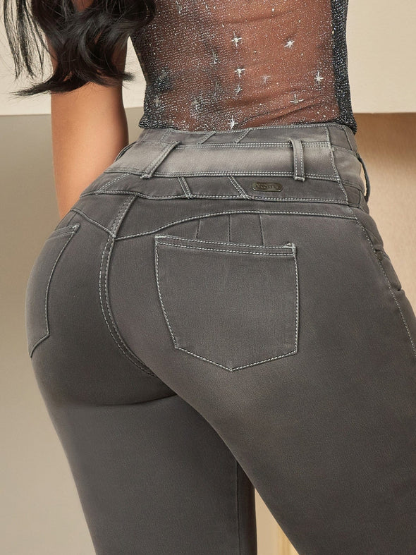 dark grey colombian butt lift jeans up close small pockets