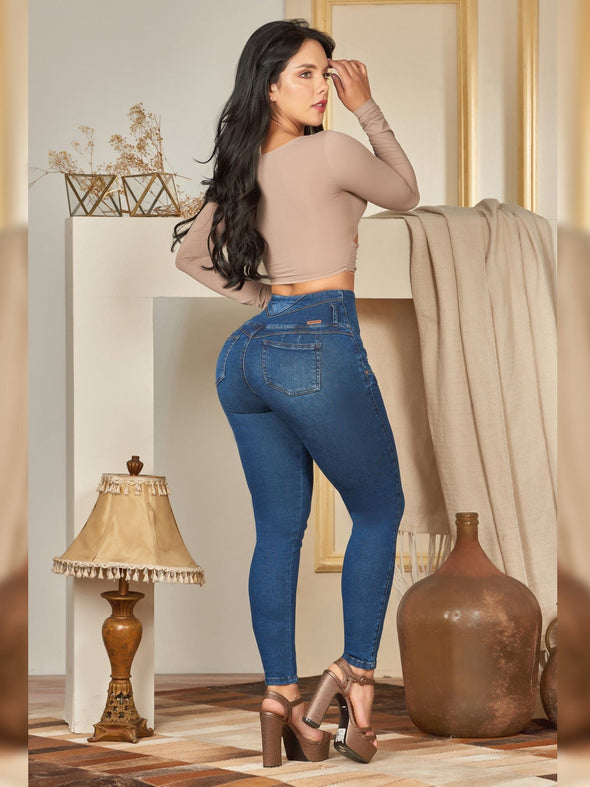 back view colombian butt lift skinny jeans with brown heels taupe crop top long sleeves