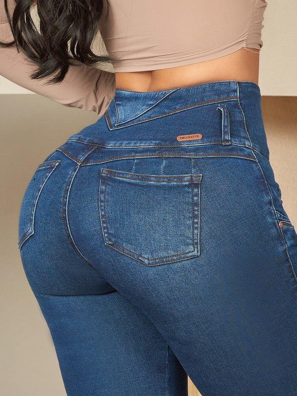 dark wash butt lift colombian jeans close up wide small pockets nicolette tummy control