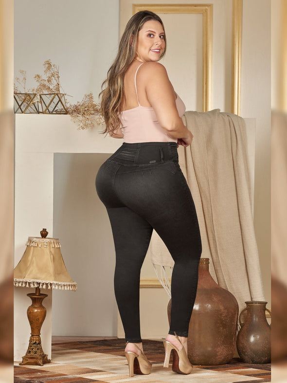 back view colombian butt lift skinny jeans grey with pink tank top and heels