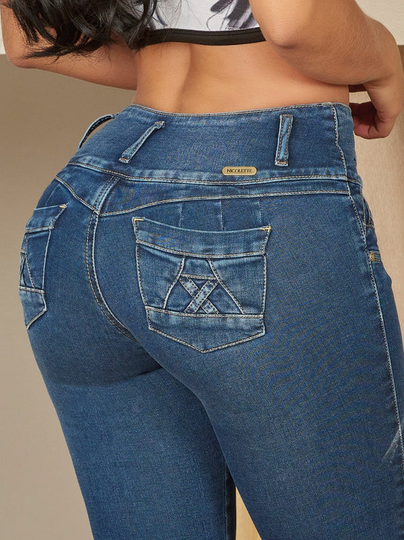 dark blue colombian butt lift jeans heart shape with pockets up close