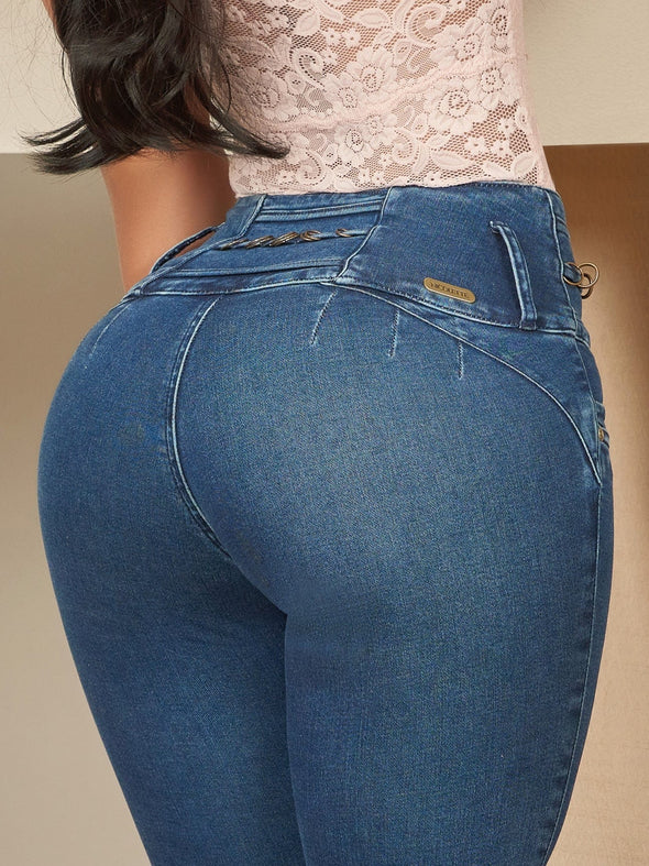 back view butt lift colombian jeans medium blue  up close no pockets