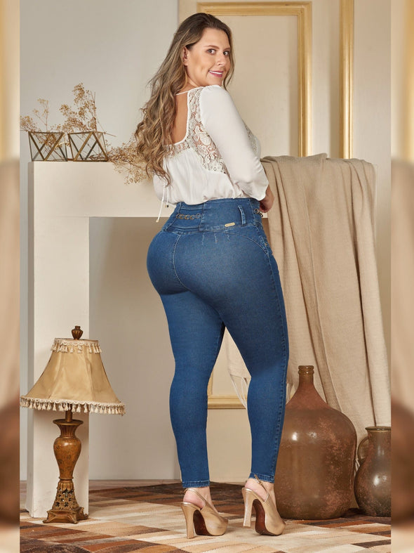 back view colombian butt lift jeans plus size skinny fit with white top