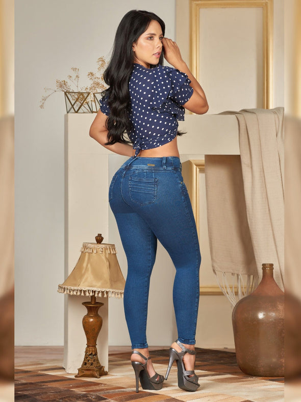 back view colombian butt lift jean skinny high heels crop top polka dot
