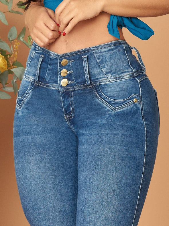 colombian butt lift jeans up close three buttons tummy control