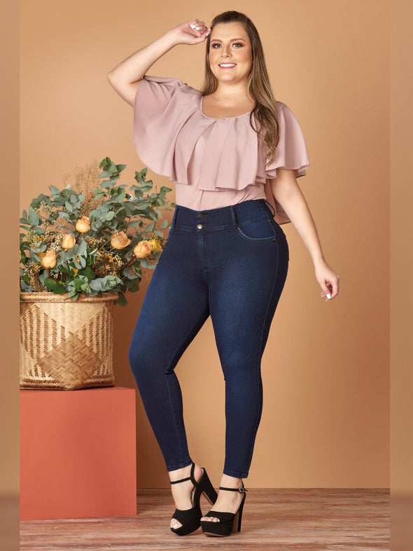 plus size colombian woman butt lift jeans with blush top and black heels