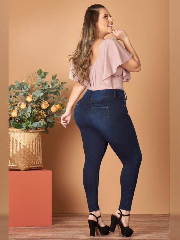 back view butt lift colombian skinny jeans with black heels off shoulder pink blouse