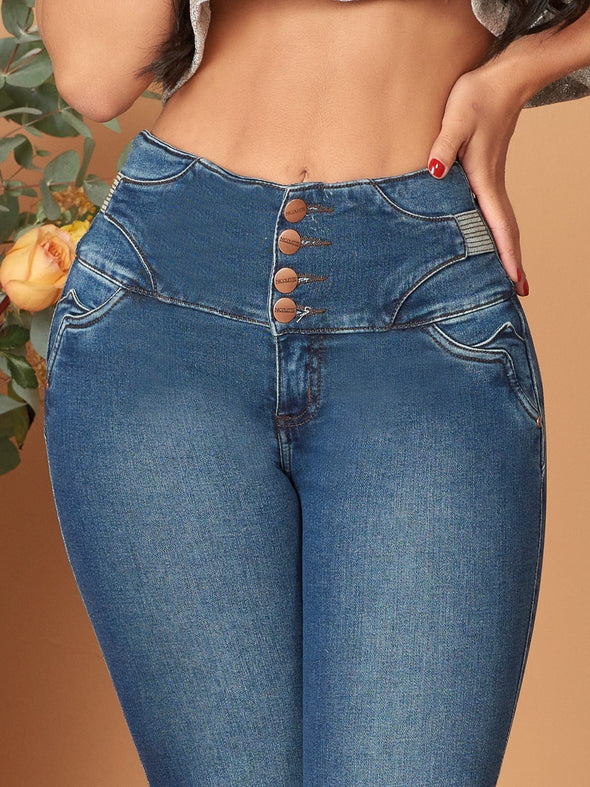 tummy tuck control colombian jeans up close four buttons