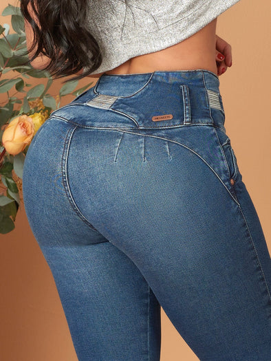 Dark blue no pockets colombian butt lift jeans