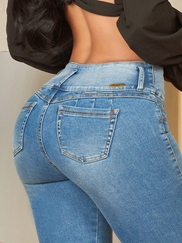 light wash butt lift colombian jeans