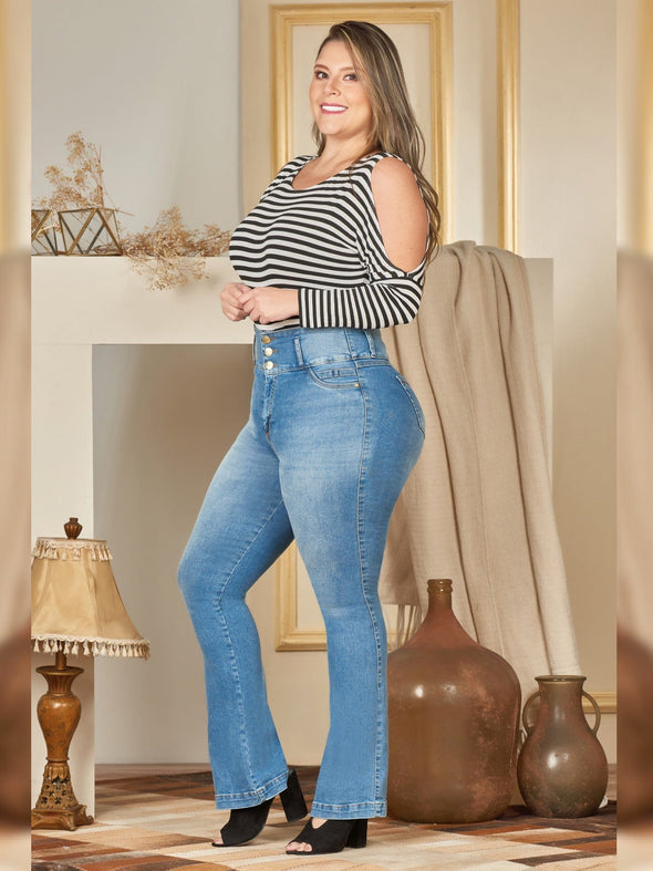 plus size colombian butt lift jean with boot cut