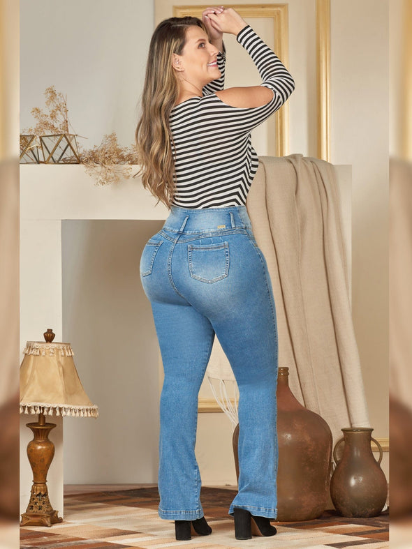 butt lift colombian jean plus size boot cut with white and black stripe long sleeves