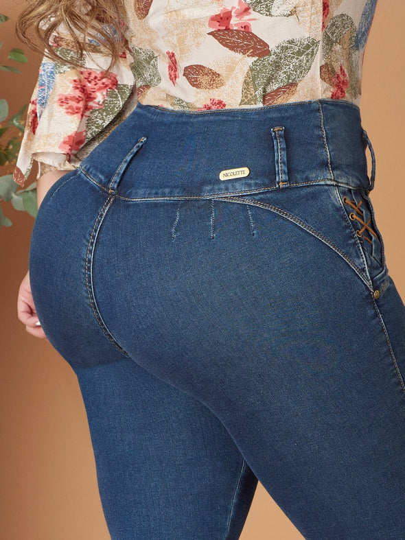 back view colombian butt lift skinny jeans no pockets silver button