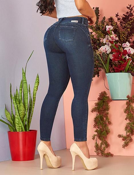 back side view of butt lift colombian jeans skinny with nude high heels