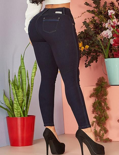 back view up close of colombian butt lift skinny jeans dark blue