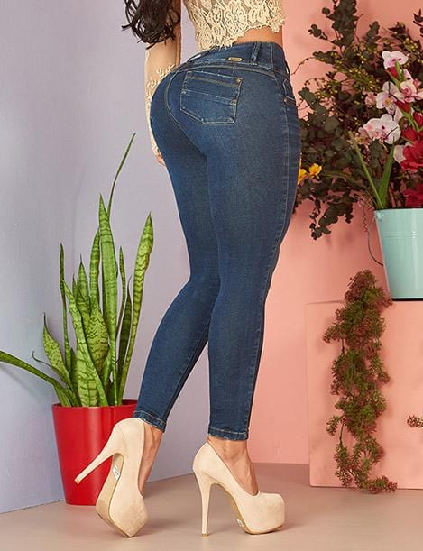 butt lift colombian jeans up close dark denim with nude high heels