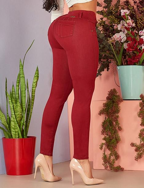colombian butt lift high waist maroon wine colored jeans