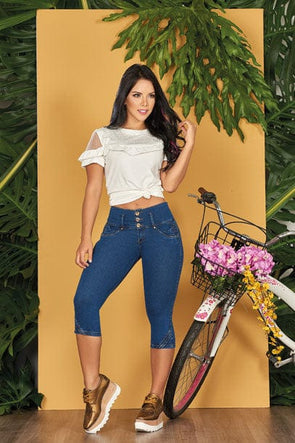 """Candid"" Push up Capri Jeans Levanta Cola 10727"