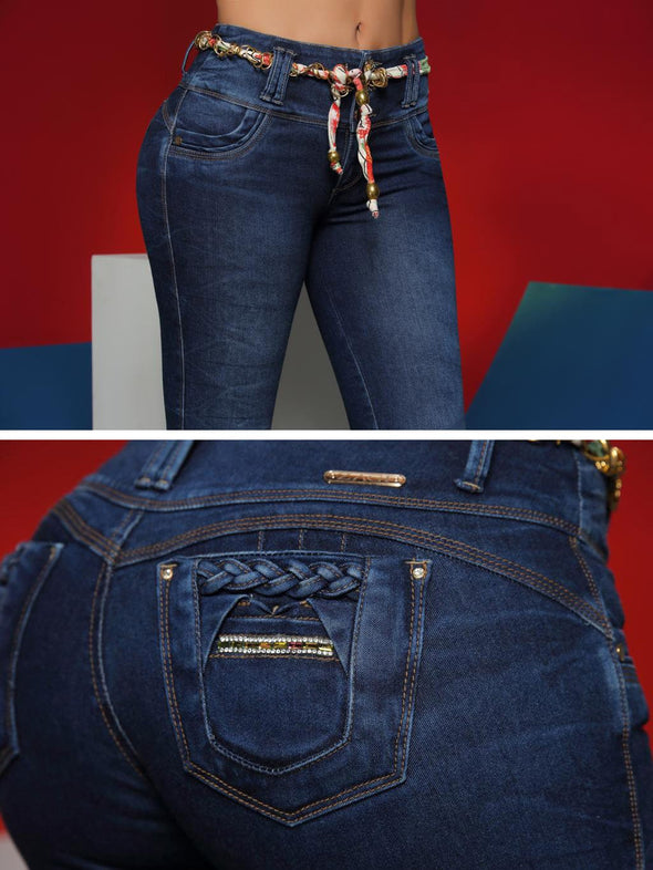 back view butt lift colombian jeans up close with belt