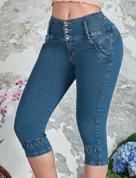'Karina' Push up Capri Jeans Levanta Cola 10842