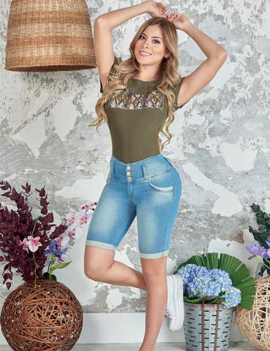 """Rosie"" Push up Capri Jeans Levanta Cola 10849"