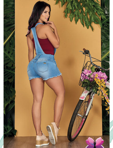back view of butt lift denim romper with butt lift and sneakers