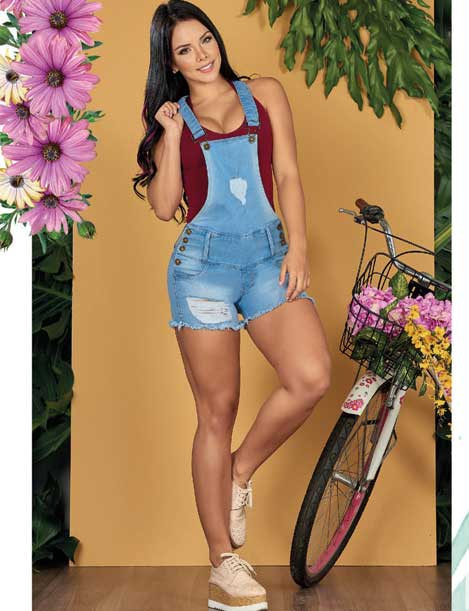 colombian girl with denim butt lift shorts jumper