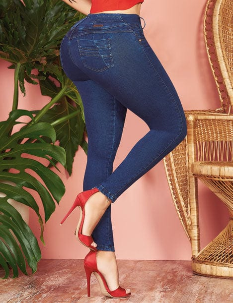 back view of colombian butt lift jeans with red high heels