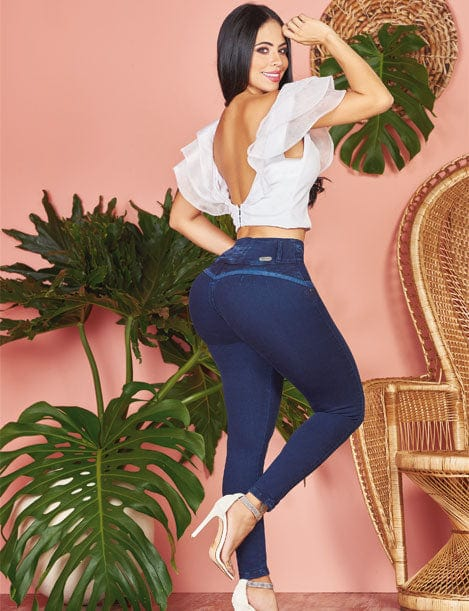 colombian butt lift jeans with bright blue butt accent skinny with white crop top