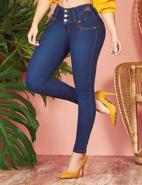 front view of colombian jeans three pocket with mustard high heels