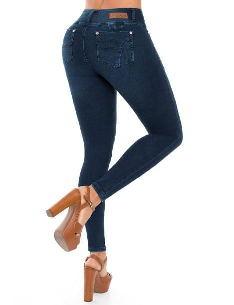 push up dark wash jeans with wide set pockets anti cellulite with heels