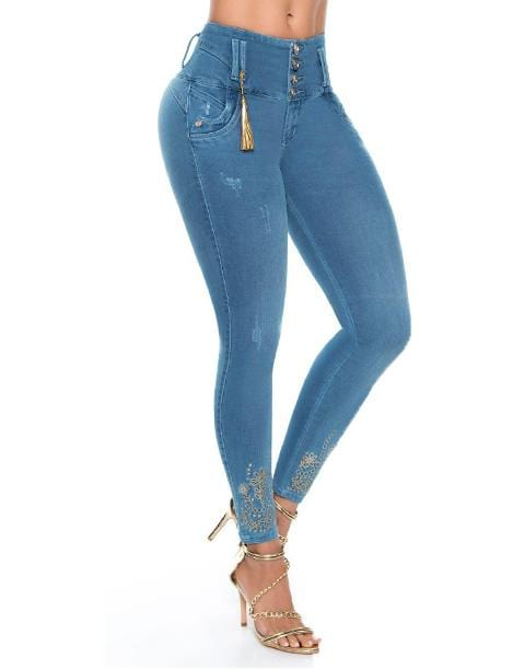 ligh medium wash butt lift colombian jeans with ankle design and gold tassle four buttons