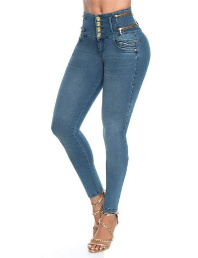 very high waist four button brazillian jean with zippers on side