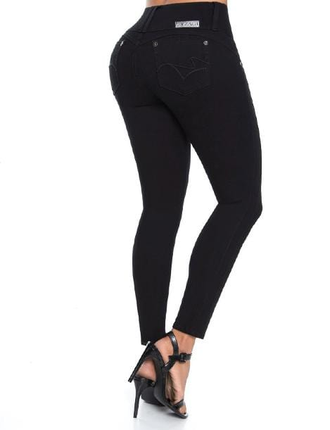long black colombian push up jeans with strappy black heels