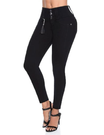 push up Brazilian black jeans long legs with black tassle and high heels