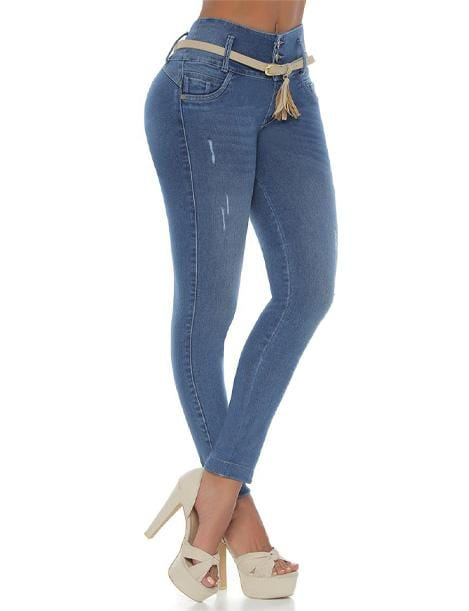 medium blue jeans colombian push up with high heels