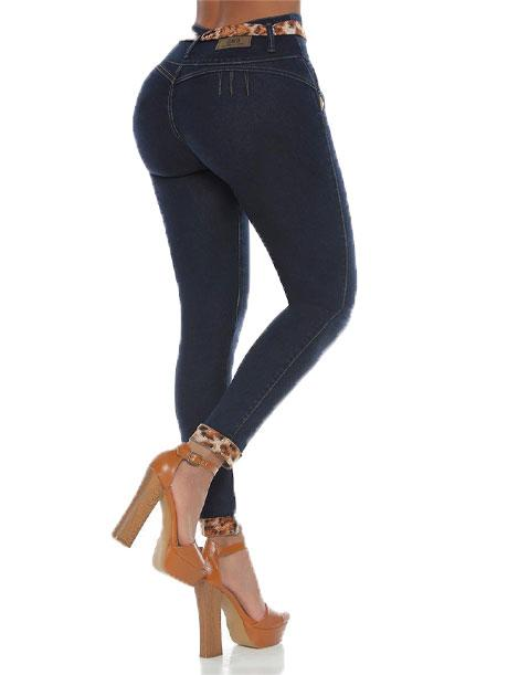 butt view of push up jeans dark wash with butt lifit and cheetah print